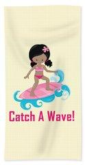 Surfer Art Catch A Wave Girl With Surfboard #20 Beach Sheet
