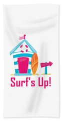 Surfer Art - Surf's Up Cabana House To The Beach Beach Towel