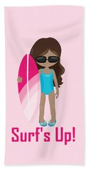 Surfer Art Surf's Up Girl With Surfboard #16 Beach Towel
