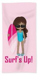 Surfer Art Surf's Up Girl With Surfboard #16 Beach Sheet