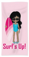 Surfer Art Surf's Up Girl With Surfboard #17 Beach Towel