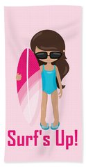 Surfer Art Surf's Up Girl With Surfboard #18 Beach Towel