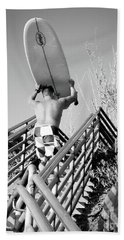 Surfer Ascending Stairs, San Diego, California  -74698-bw Beach Sheet