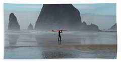 Surfer At Haystack Rock Beach Towel