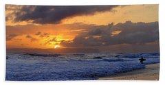 Surfer At Sunset On Kauai Beach With Niihau On Horizon Beach Sheet by Catherine Sherman