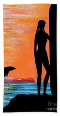 Surfer Girl With Dolphin Beach Towel