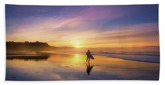 Surfer In Beach At Sunset Beach Towel