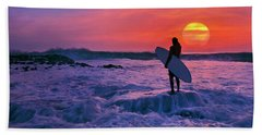 Surfer On Rock Looking Out From Blowing Rocks Preserve On Jupiter Island Beach Towel by Justin Kelefas