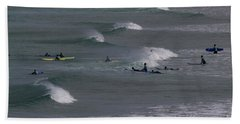 Beach Towel featuring the photograph Photographs Of Cornwall Surfers At Fistral by Brian Roscorla