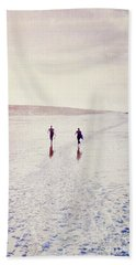 Beach Sheet featuring the photograph Surfers In The Snow by Lyn Randle