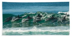 Surfing Dolphins 4 Beach Towel