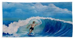Surfing On The Waves Beach Towel