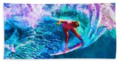 Surfs Like A Girl 1 Beach Towel by ABeautifulSky Photography