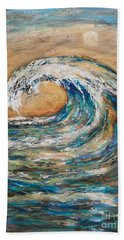 Beach Towel featuring the painting Surf's Up by Linda Olsen