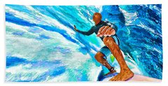 Surf's Up With Kelly Slater Beach Sheet by ABeautifulSky Photography