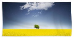 Surreal Canola Field Beach Towel