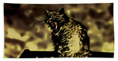 Surreal Cat Yawn Beach Towel by Gina O'Brien