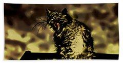 Surreal Cat Yawn Beach Sheet by Gina O'Brien