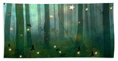 Surreal Dreamy Fantasy Nature Fairy Lights Woodlands Nature - Fairytale Fantasy Forest Woodlands  Beach Towel
