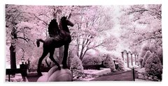 Surreal Infared Pink Black Sculpture Horse Pegasus Winged Horse Architectural Garden Beach Towel by Kathy Fornal