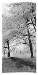 Beach Towel featuring the photograph Surreal Infrared Black White Nature Trees - Haunting Black White Trees Nature Infrared by Kathy Fornal