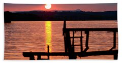 Surreal Smith Mountain Lake Dockside Sunset 2 Beach Towel