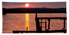 Surreal Smith Mountain Lake Dockside Sunset 2 Beach Sheet by The American Shutterbug Society