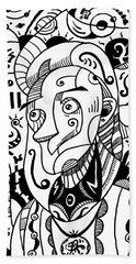 Surrealism Philosopher Black And White Beach Sheet