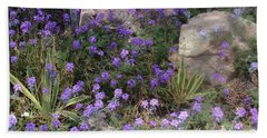 Surrounded By Purple Flowers Beach Sheet