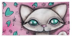 Susan  Cat Beach Sheet by Abril Andrade Griffith