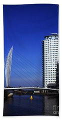 Suspension Bridge Across The Manchester Ship Canal Opposite Media City Salford Quays Greater Manches Beach Towel