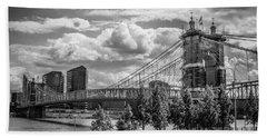 Suspension Bridge Black And White Beach Towel by Scott Meyer