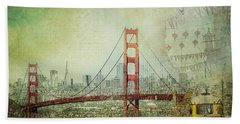 Suspension - Golden Gate Bridge San Francisco Photography Mixed Media Collage Beach Towel by Melanie Alexandra Price