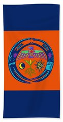 Beach Towel featuring the digital art Sw Shaman Eagle Rain Dance by Vagabond Folk Art - Virginia Vivier