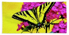 Beach Towel featuring the digital art Swallow Tail Feeding by James Steele