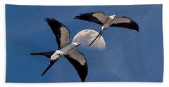 Swallow Tail Kites In Flight Under Moon Beach Sheet by Justin Kelefas