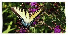 Swallowtail On Butterfly Weed Beach Towel by J L Zarek