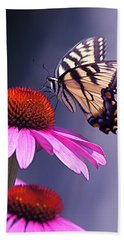 Beach Towel featuring the photograph Swallowtail And Coneflower by Byron Varvarigos