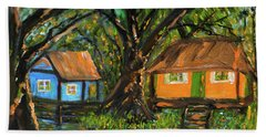 Swamp Cabins Beach Sheet by Christy Usilton