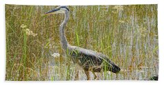 Swamped Blue Heron Beach Towel