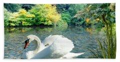 Swan And Cygnets Beach Towel