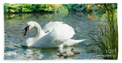 Beach Towel featuring the photograph Swan And Cygnets by Morag Bates