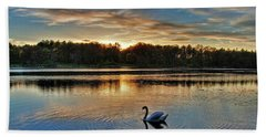 Swan At Sunset Beach Towel