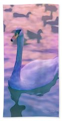 Swan At Twilight Beach Towel