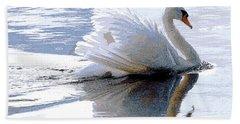 Swan Bathed In Morning Light Series 3 - Digitalart Beach Sheet