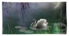 Swan By Moonlight Beach Towel