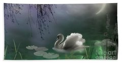 Swan By Moonlight Beach Towel