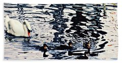 Beach Towel featuring the photograph Swan Family On The Rhine by Sarah Loft