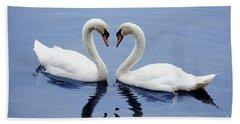 Swan Heart Beach Towel