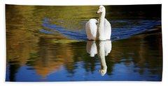 Swan In Color Beach Towel by Teemu Tretjakov